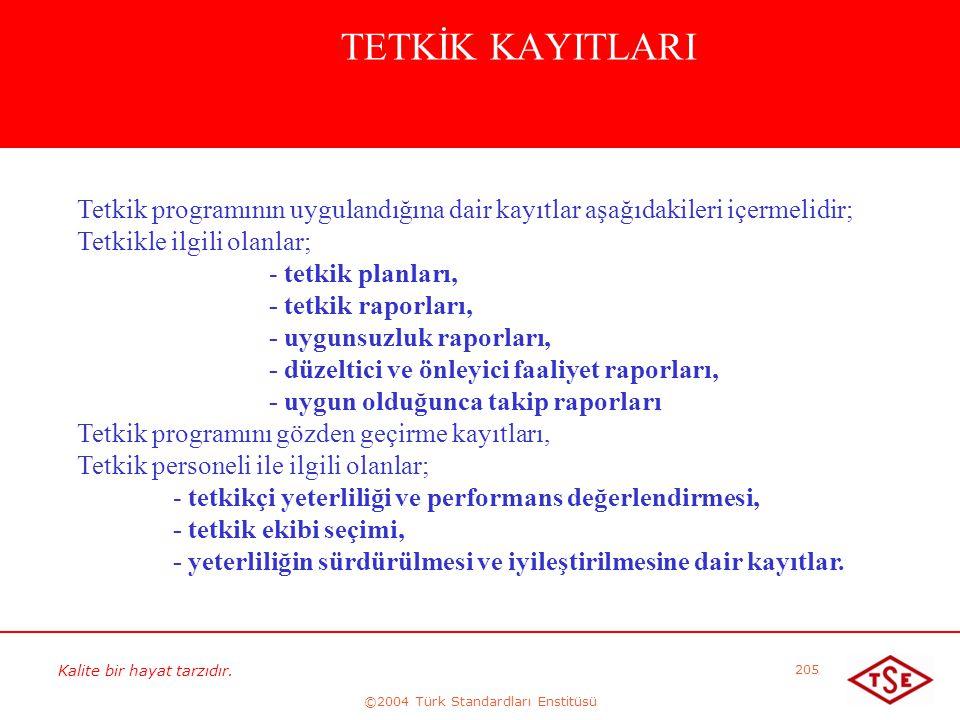 Kalite bir hayat tarzıdır. ©2004 Türk Standardları Enstitüsü 205 TETKİK KAYITLARI Tetkik programının uygulandığına dair kayıtlar aşağıdakileri içermel