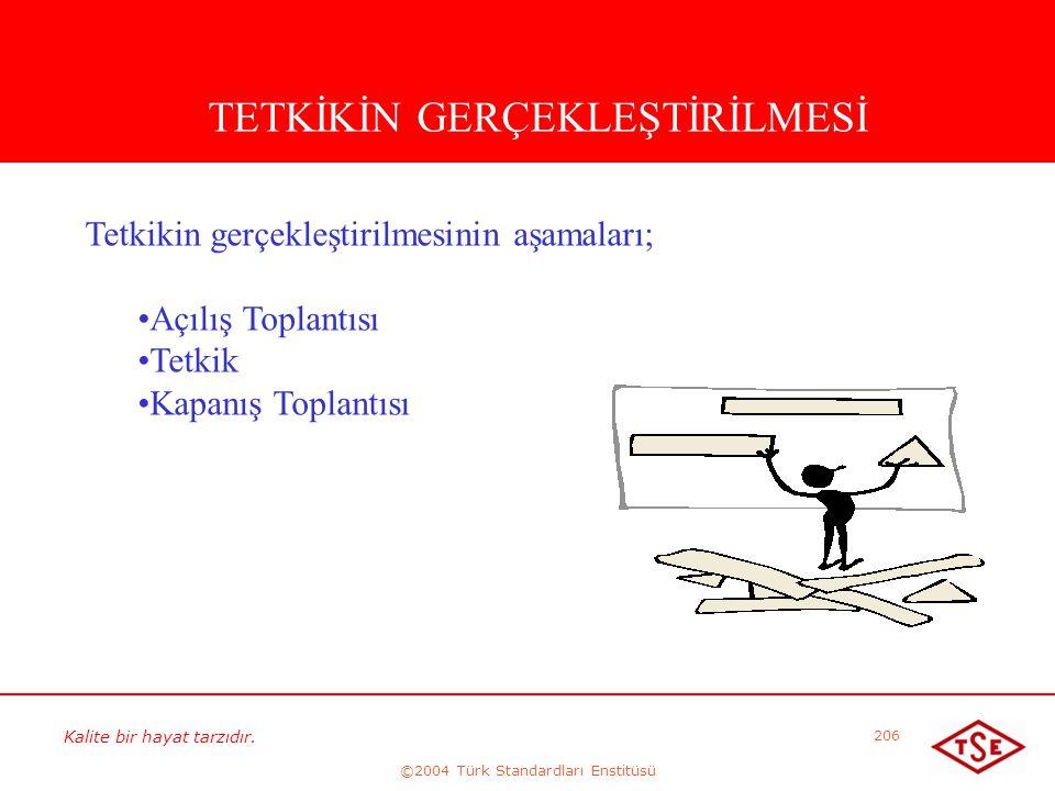 Kalite bir hayat tarzıdır. ©2004 Türk Standardları Enstitüsü 206 TETKİKİN GERÇEKLEŞTİRİLMESİ Tetkikin gerçekleştirilmesinin aşamaları; • •Açılış Topla