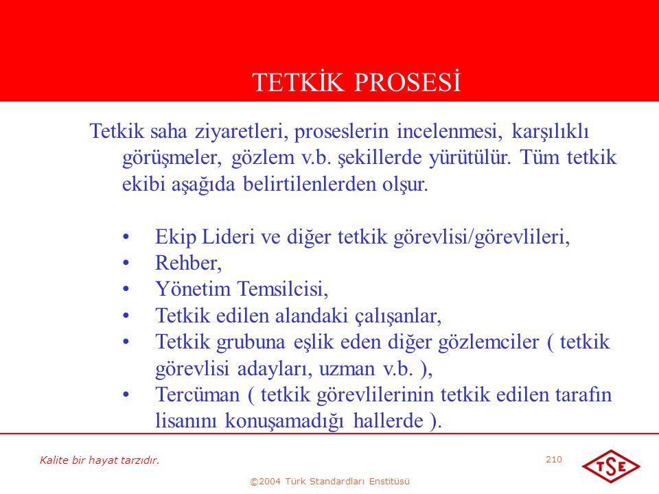 Kalite bir hayat tarzıdır. ©2004 Türk Standardları Enstitüsü 210 TETKİK PROSESİ Tetkik saha ziyaretleri, proseslerin incelenmesi, karşılıklı görüşmele