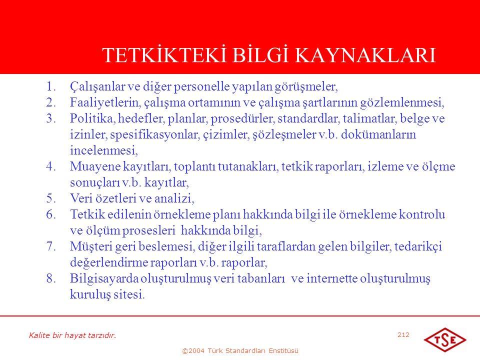 Kalite bir hayat tarzıdır. ©2004 Türk Standardları Enstitüsü 212 TETKİKTEKİ BİLGİ KAYNAKLARI 1. 1.Çalışanlar ve diğer personelle yapılan görüşmeler, 2