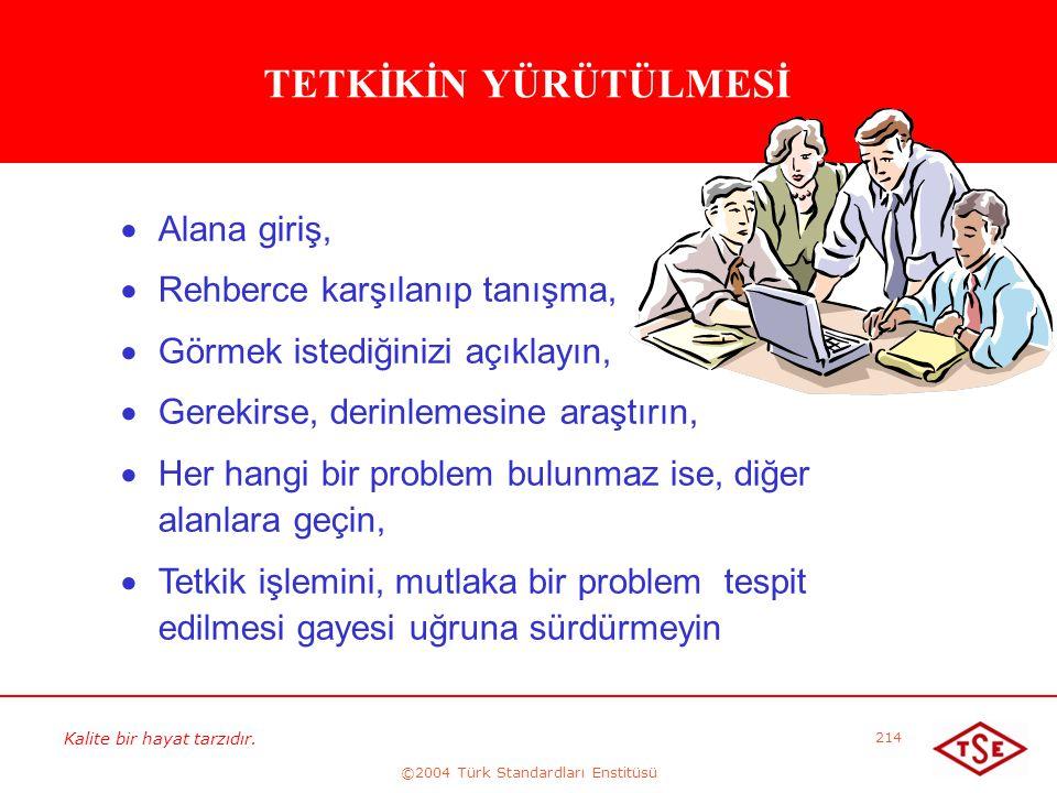 Kalite bir hayat tarzıdır. ©2004 Türk Standardları Enstitüsü 214 TETKİKİN YÜRÜTÜLMESİ   Alana giriş,   Rehberce karşılanıp tanışma,   Görmek ist