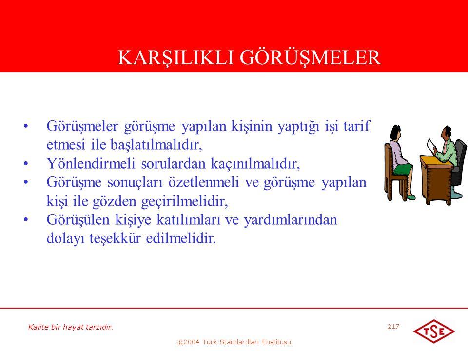 Kalite bir hayat tarzıdır. ©2004 Türk Standardları Enstitüsü 217 KARŞILIKLI GÖRÜŞMELER • •Görüşmeler görüşme yapılan kişinin yaptığı işi tarif etmesi