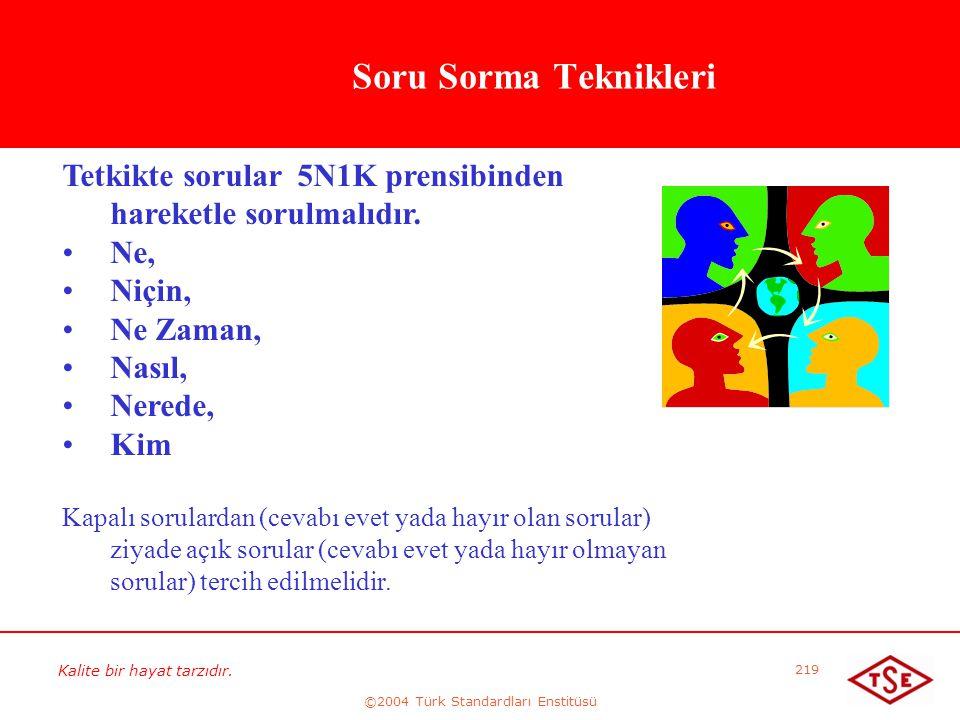 Kalite bir hayat tarzıdır. ©2004 Türk Standardları Enstitüsü 219 Soru Sorma Teknikleri Tetkikte sorular 5N1K prensibinden hareketle sorulmalıdır. • •N