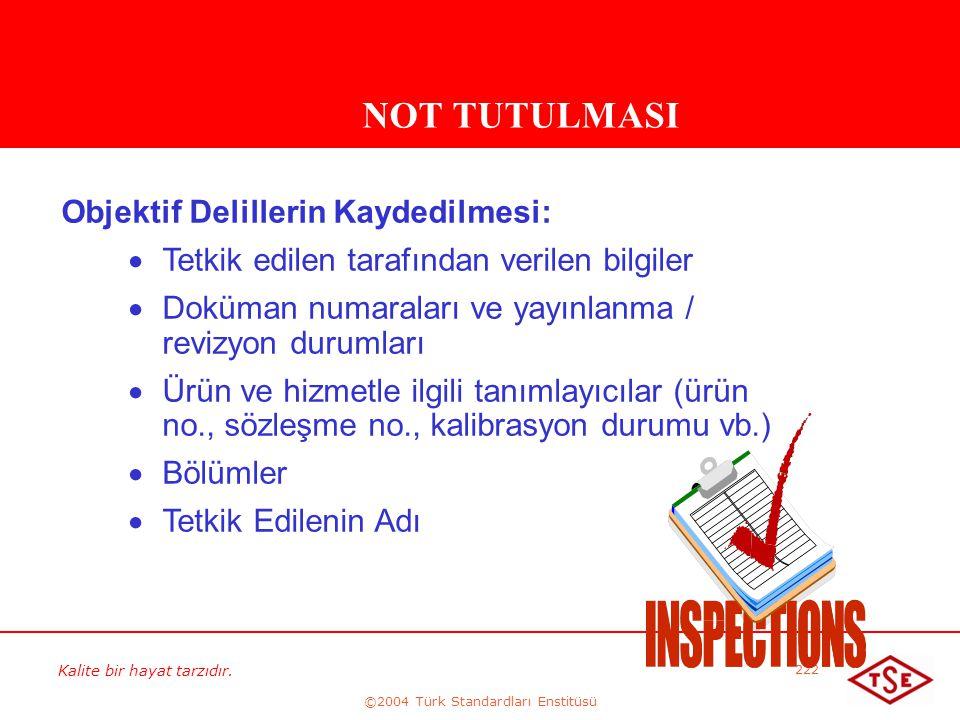 Kalite bir hayat tarzıdır. ©2004 Türk Standardları Enstitüsü 222 NOT TUTULMASI Objektif Delillerin Kaydedilmesi:   Tetkik edilen tarafından verilen