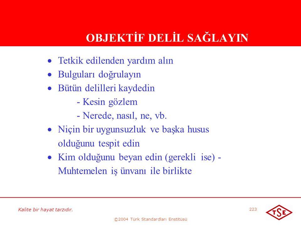 Kalite bir hayat tarzıdır. ©2004 Türk Standardları Enstitüsü 223 OBJEKTİF DELİL SAĞLAYIN   Tetkik edilenden yardım alın   Bulguları doğrulayın  