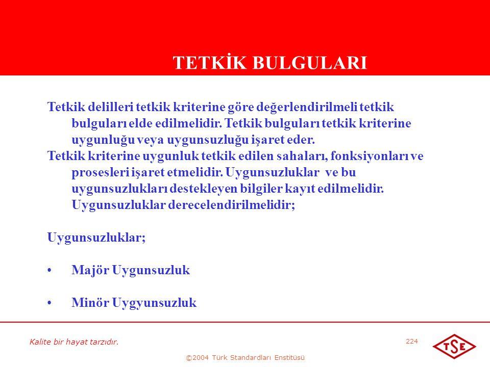 Kalite bir hayat tarzıdır. ©2004 Türk Standardları Enstitüsü 224 TETKİK BULGULARI Tetkik delilleri tetkik kriterine göre değerlendirilmeli tetkik bulg