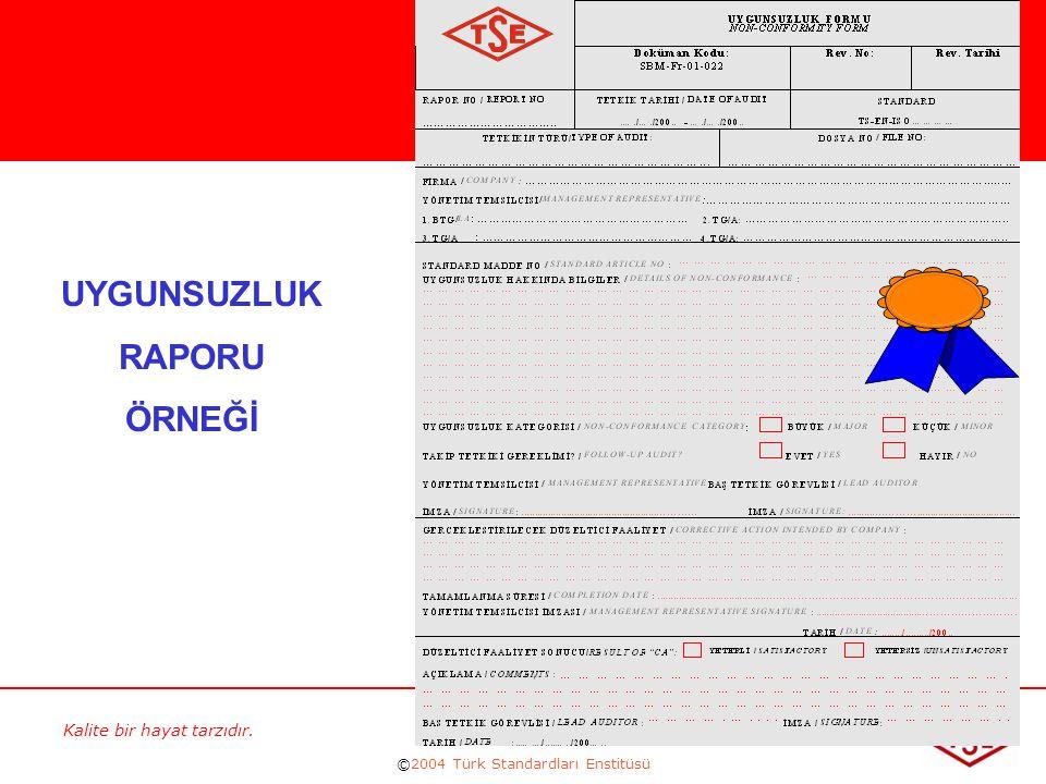 Kalite bir hayat tarzıdır. ©2004 Türk Standardları Enstitüsü 226 UYGUNSUZLUK RAPORU ÖRNEĞİ