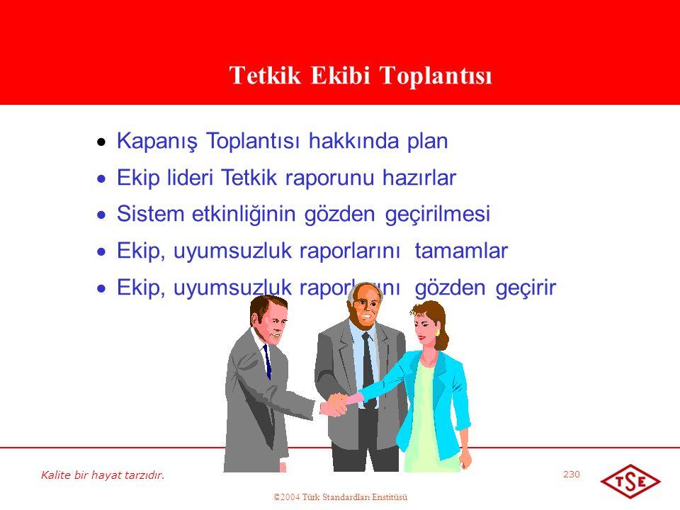 Kalite bir hayat tarzıdır. ©2004 Türk Standardları Enstitüsü 230 Tetkik Ekibi Toplantısı   Kapanış Toplantısı hakkında plan   Ekip lideri Tetkik r