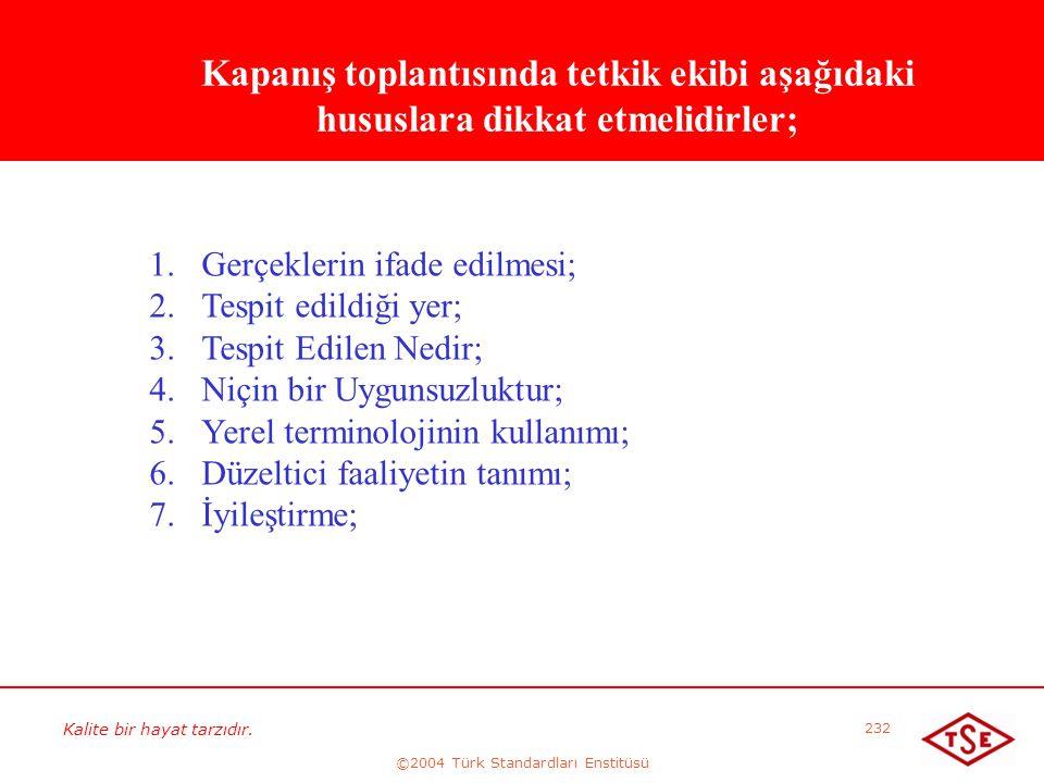 Kalite bir hayat tarzıdır. ©2004 Türk Standardları Enstitüsü 232 Kapanış toplantısında tetkik ekibi aşağıdaki hususlara dikkat etmelidirler; 1. 1.Gerç