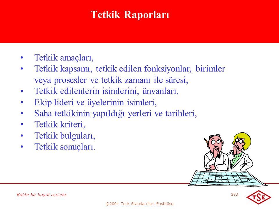 Kalite bir hayat tarzıdır. ©2004 Türk Standardları Enstitüsü 233 Tetkik Raporları • •Tetkik amaçları, • •Tetkik kapsamı, tetkik edilen fonksiyonlar, b