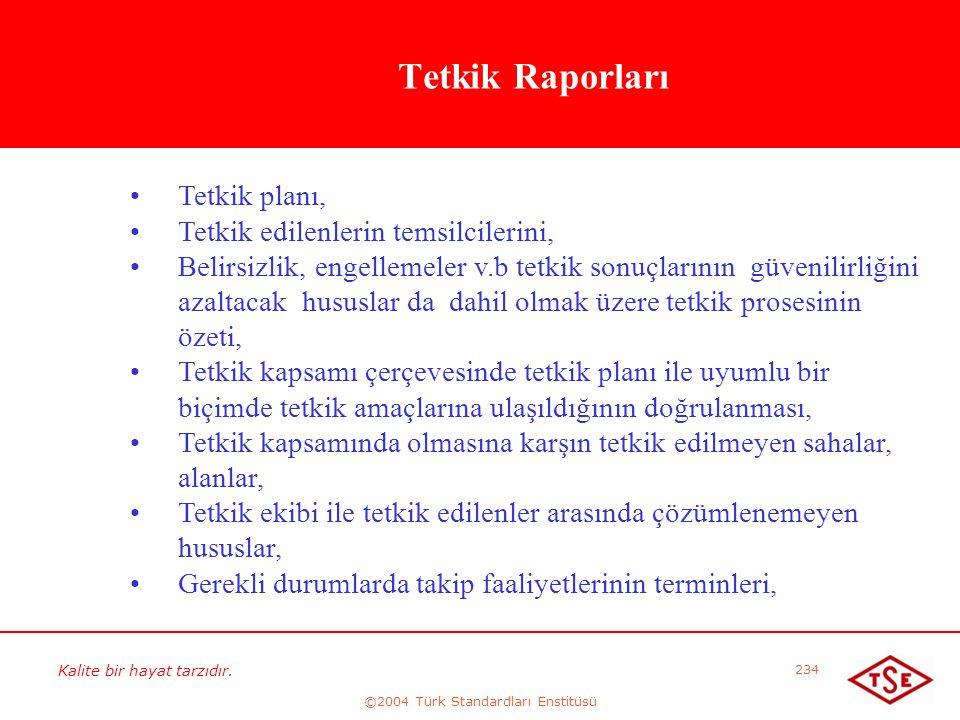 Kalite bir hayat tarzıdır. ©2004 Türk Standardları Enstitüsü 234 Tetkik Raporları • •Tetkik planı, • •Tetkik edilenlerin temsilcilerini, • •Belirsizli