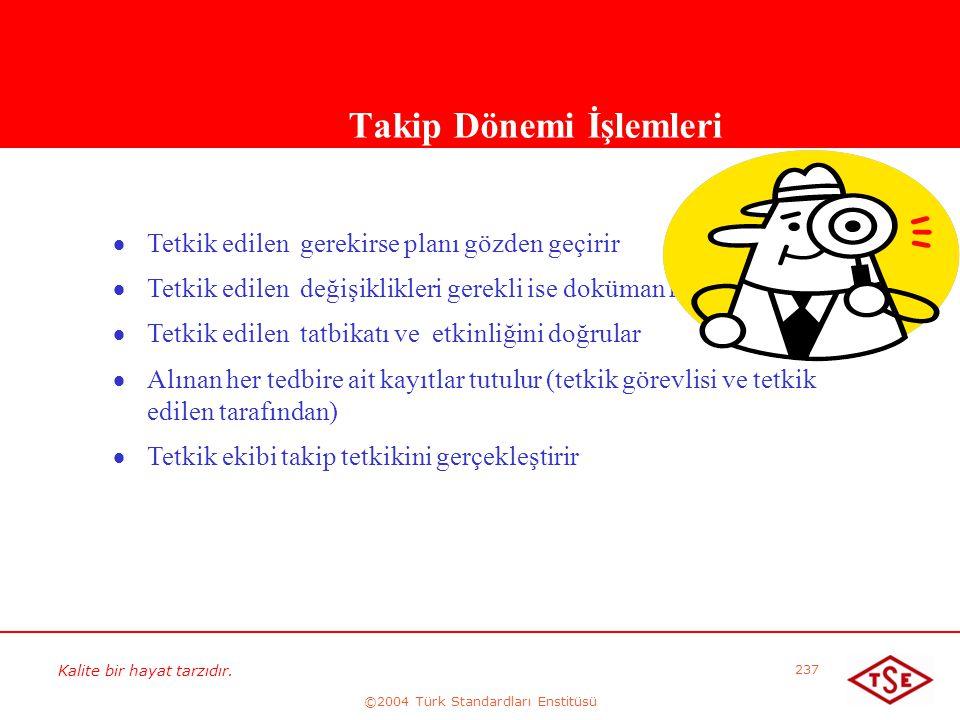 Kalite bir hayat tarzıdır. ©2004 Türk Standardları Enstitüsü 237 Takip Dönemi İşlemleri   Tetkik edilen gerekirse planı gözden geçirir   Tetkik ed