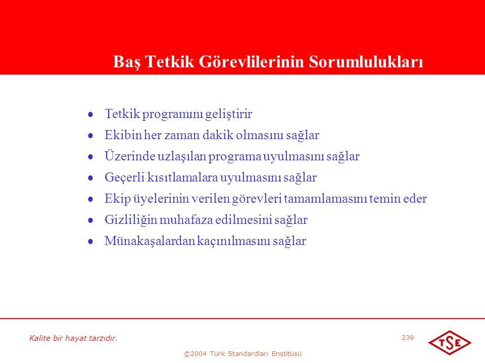 Kalite bir hayat tarzıdır. ©2004 Türk Standardları Enstitüsü 239 Baş Tetkik Görevlilerinin Sorumlulukları   Tetkik programını geliştirir   Ekibin