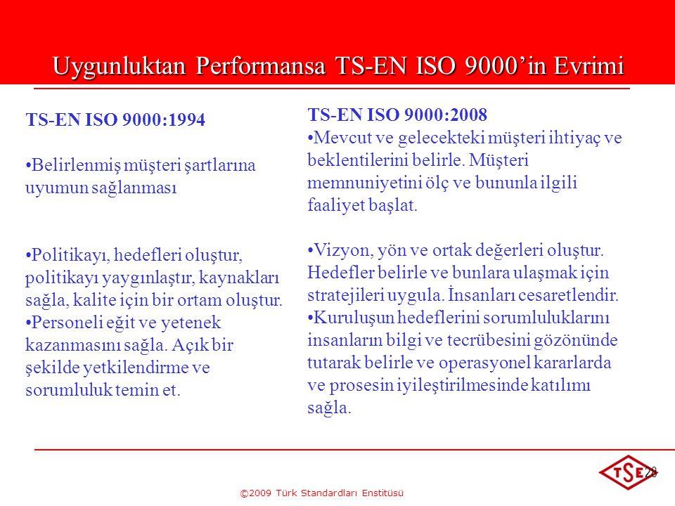 ©2009 Türk Standardları Enstitüsü 28 Uygunluktan Performansa TS-EN ISO 9000'in Evrimi TS-EN ISO 9000:1994 • •Belirlenmiş müşteri şartlarına uyumun sağ