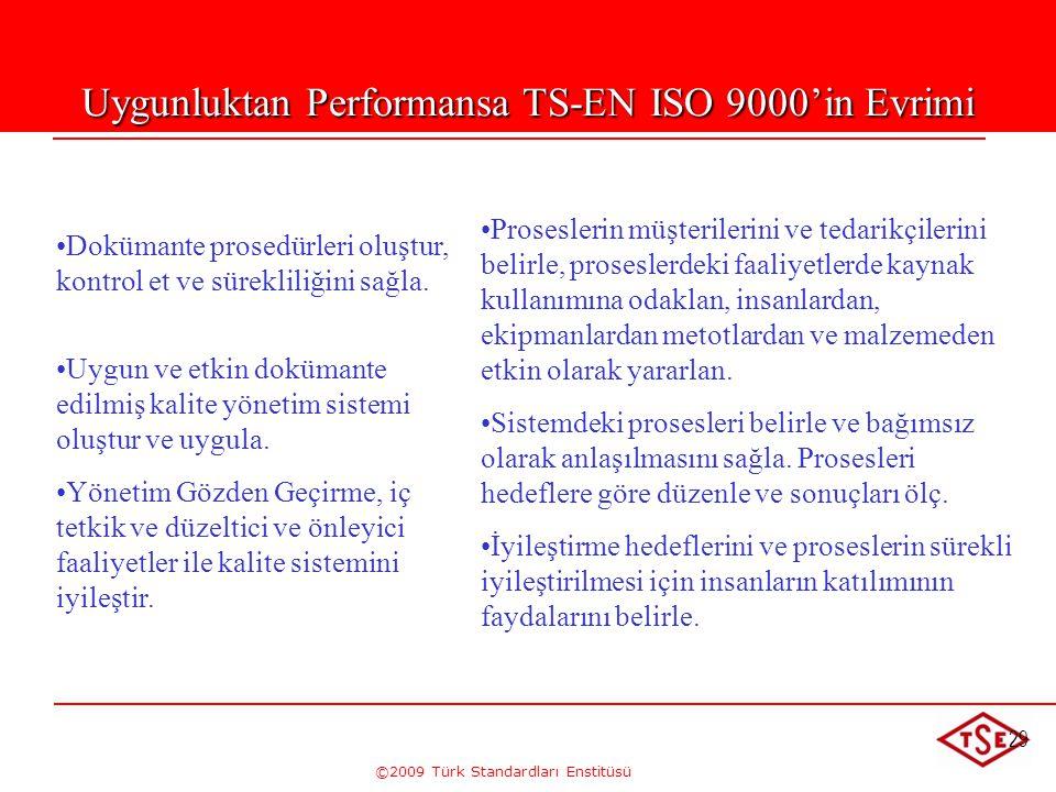 ©2009 Türk Standardları Enstitüsü 29 Uygunluktan Performansa ISO 9000'in Evrimi • •Dokümante prosedürleri oluştur, kontrol et ve sürekliliğini sağla.
