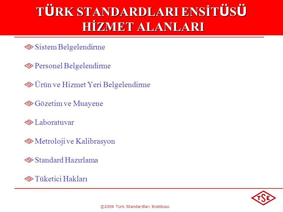 ©2009 Türk Standardları Enstitüsü T Ü RK STANDARDLARI ENSİT Ü S Ü HİZMET ALANLARI Sistem Belgelendirme Personel Belgelendirme Ürün ve Hizmet Yeri Belg