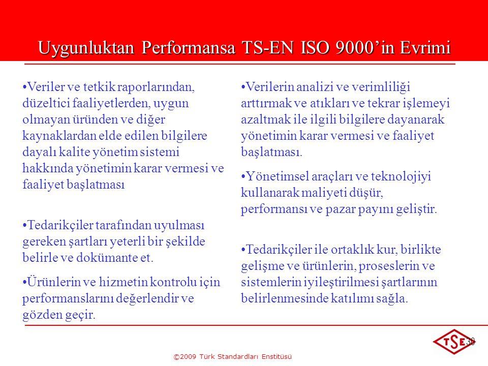 ©2009 Türk Standardları Enstitüsü 30 • •Veriler ve tetkik raporlarından, düzeltici faaliyetlerden, uygun olmayan üründen ve diğer kaynaklardan elde ed