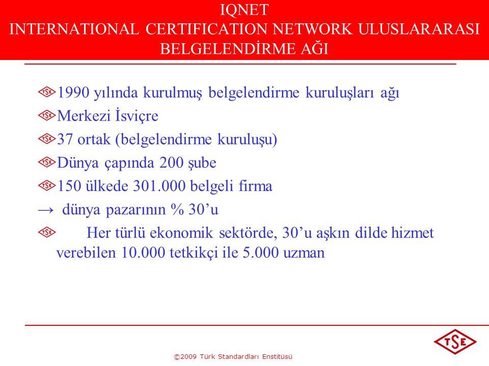 ©2009 Türk Standardları Enstitüsü IQNET INTERNATIONAL CERTIFICATION NETWORK ULUSLARARASI BELGELENDİRME AĞI 1990 yılında kurulmuş belgelendirme kuruluş
