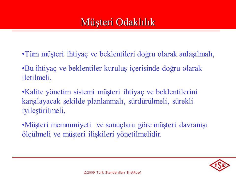 ©2009 Türk Standardları Enstitüsü 64 Müşteri Odaklılık • •Tüm müşteri ihtiyaç ve beklentileri doğru olarak anlaşılmalı, • •Bu ihtiyaç ve beklentiler k