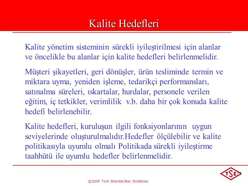 ©2009 Türk Standardları Enstitüsü 71 Kalite Hedefleri Kalite yönetim sisteminin sürekli iyileştirilmesi için alanlar ve öncelikle bu alanlar için kali