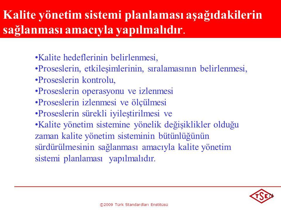 ©2009 Türk Standardları Enstitüsü 74 • •Kalite hedeflerinin belirlenmesi, • •Proseslerin, etkileşimlerinin, sıralamasının belirlenmesi, • •Proseslerin