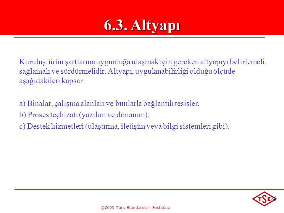 ©2009 Türk Standardları Enstitüsü 88 Kuruluş, ürün şartlarına uygunluğa ulaşmak için gereken altyapıyı belirlemeli, sağlamalı ve sürdürmelidir. Altyap