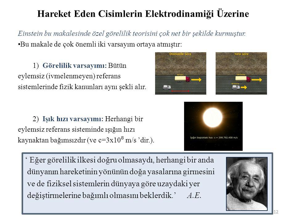 Einstein bu makalesinde özel görelilik teorisini çok net bir şekilde kurmuştur.