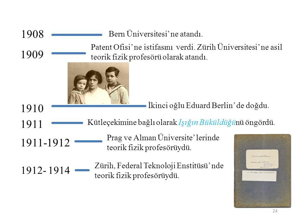 1908 Bern Üniversitesi' ne atandı.1909 Patent Ofisi' ne istifasını verdi.