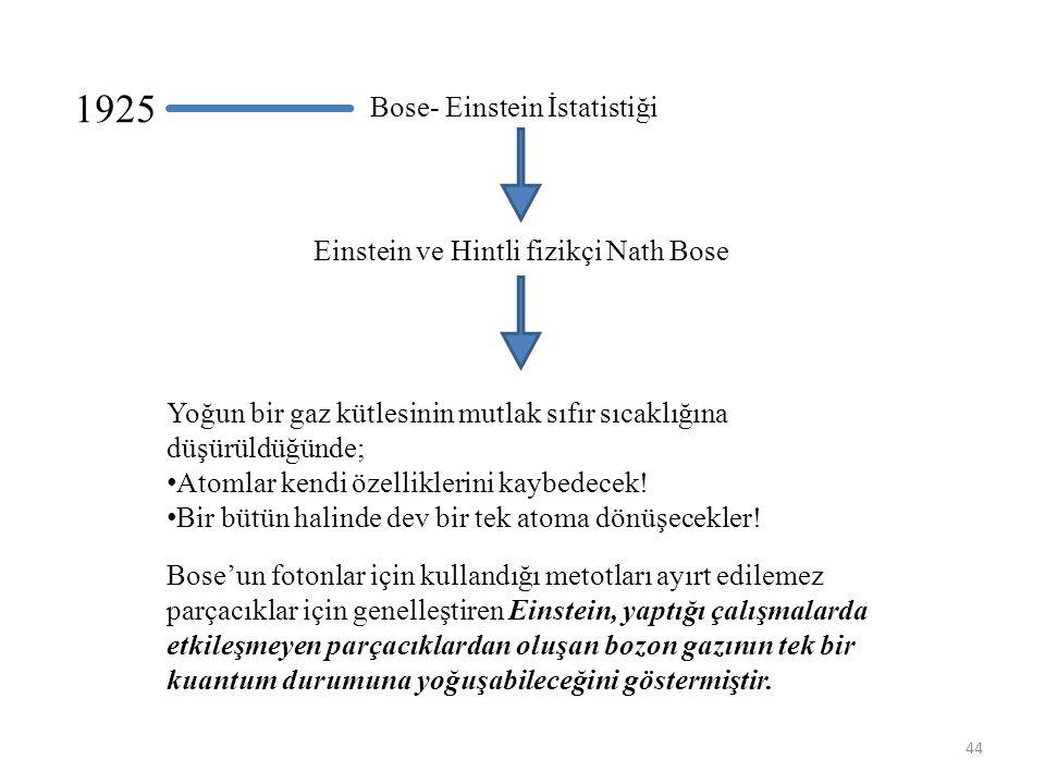 44 Yoğun bir gaz kütlesinin mutlak sıfır sıcaklığına düşürüldüğünde; • Atomlar kendi özelliklerini kaybedecek.