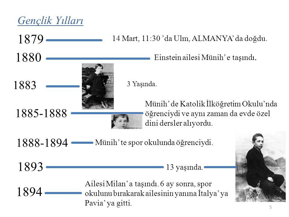 Gençlik Yılları 1879 14 Mart, 11:30 'da Ulm, ALMANYA' da doğdu.