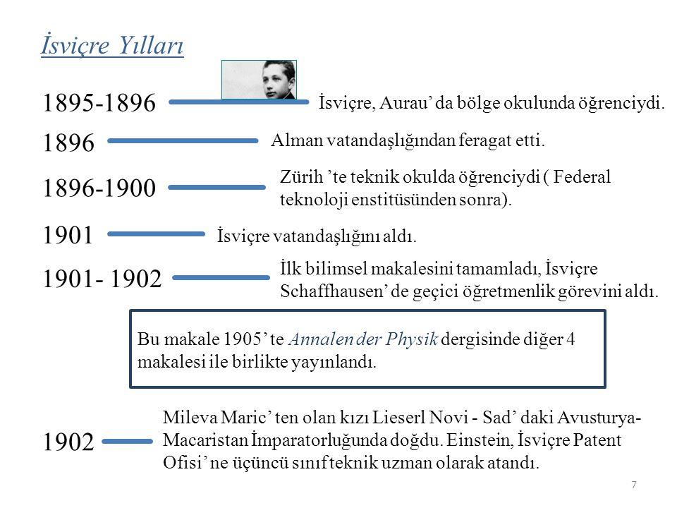 İsviçre Yılları 1895-1896 1896 İsviçre, Aurau' da bölge okulunda öğrenciydi.