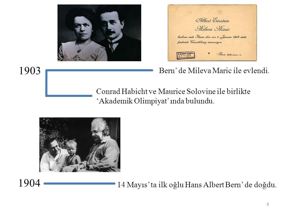 1905 Mükemmel Yıl (Annus Mirabilis): Fotoelektrik olay, Brown hareketi ve Özel Görelilik Teorisi üzerine makalelerini tamamladı.