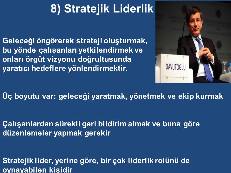 7) Hizmet Edici Liderlik Liderin temel sorumluluğu astlara hizmettir (astların geliştirilmesi, savunulması ve güçlendirilmesidir). Lider, kurumun çıka