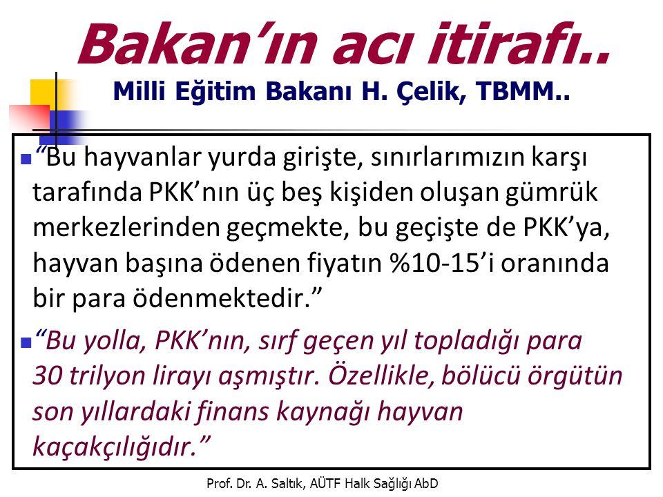 """Prof. Dr. A. Saltık, AÜTF Halk Sağlığı AbD Bakan'ın acı itirafı.. Milli Eğitim Bakanı H. Çelik, TBMM..  """"Bu hayvanlar yurda girişte, sınırlarımızın k"""