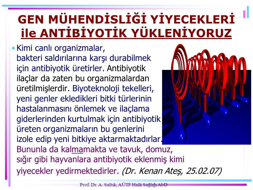 Prof. Dr. A. Saltık, AÜTF Halk Sağlığı AbD GEN MÜHENDİSLİĞİ YİYECEKLERİ ile ANTİBİYOTİK YÜKLENİYORUZ •Kimi canlı organizmalar, bakteri saldırılarına k