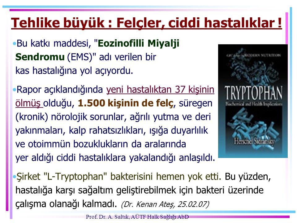 Prof.Dr. A. Saltık, AÜTF Halk Sağlığı AbD Tehlike büyük : Felçler, ciddi hastalıklar .