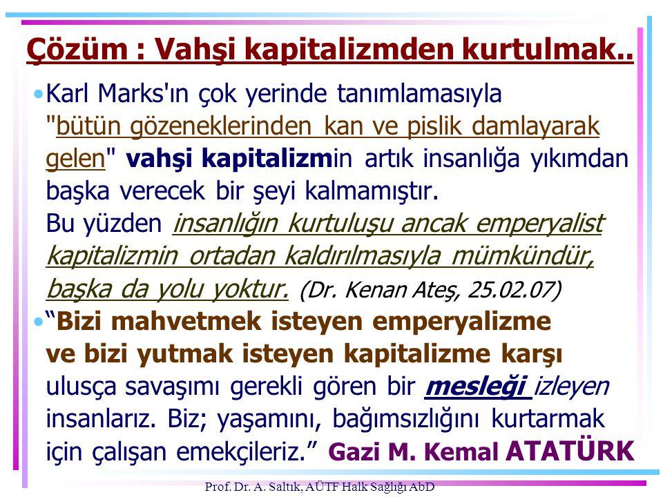 Prof. Dr. A. Saltık, AÜTF Halk Sağlığı AbD Çözüm : Vahşi kapitalizmden kurtulmak.. •Karl Marks'ın çok yerinde tanımlamasıyla