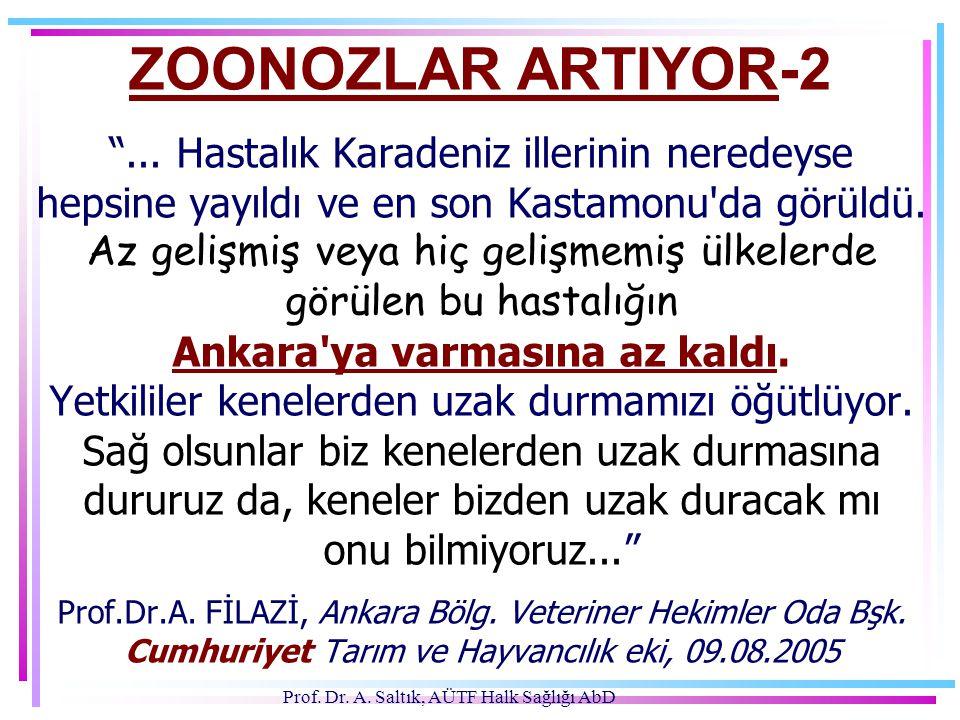 """Prof. Dr. A. Saltık, AÜTF Halk Sağlığı AbD ZOONOZLAR ARTIYOR-2 """"... Hastalık Karadeniz illerinin neredeyse hepsine yayıldı ve en son Kastamonu'da görü"""