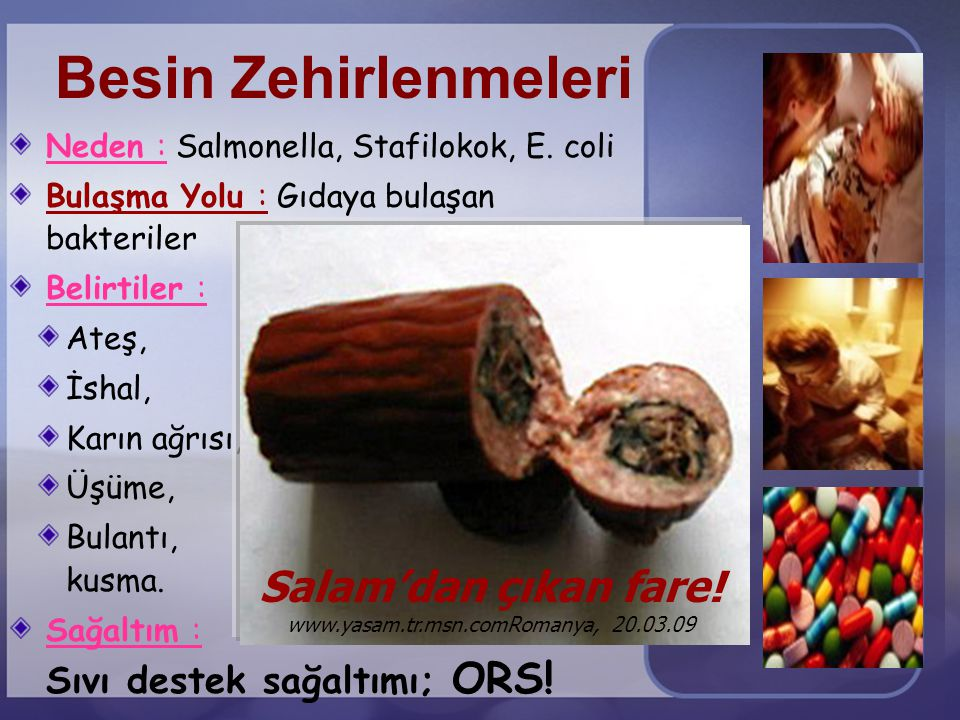 Prof. Dr. A. Saltık, AÜTF Halk Sağlığı AbD Besin Zehirlenmeleri Neden : Salmonella, Stafilokok, E. coli Bulaşma Yolu : Gıdaya bulaşan bakteriler Belir