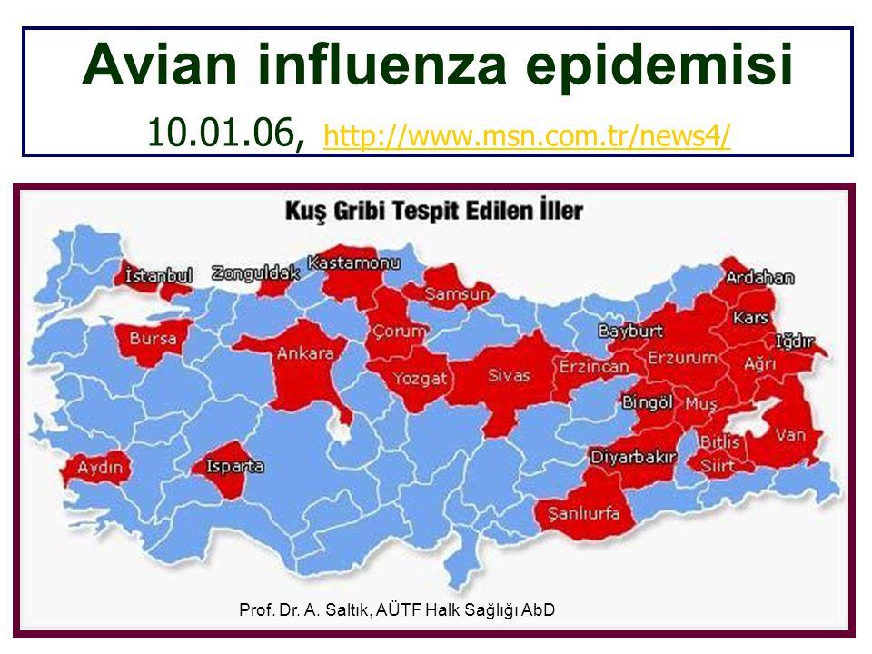 Avian influenza epidemisi 10.01.06, http://www.msn.com.tr/news4/ http://www.msn.com.tr/news4/ Prof. Dr. A. Saltık, AÜTF Halk Sağlığı AbD