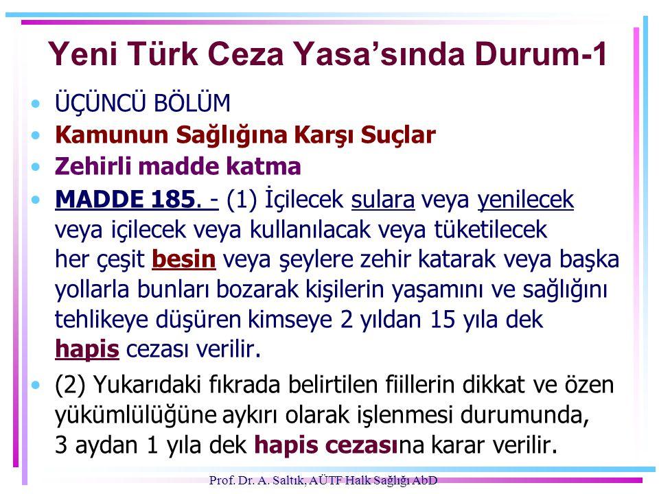 Prof. Dr. A. Saltık, AÜTF Halk Sağlığı AbD Yeni Türk Ceza Yasa'sında Durum-1 •ÜÇÜNCÜ BÖLÜM •Kamunun Sağlığına Karşı Suçlar •Zehirli madde katma •MADDE