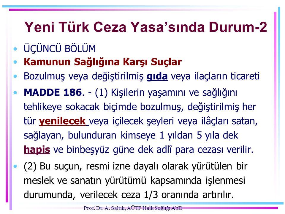 Prof. Dr. A. Saltık, AÜTF Halk Sağlığı AbD Yeni Türk Ceza Yasa'sında Durum-2 •ÜÇÜNCÜ BÖLÜM •Kamunun Sağlığına Karşı Suçlar •Bozulmuş veya değiştirilmi