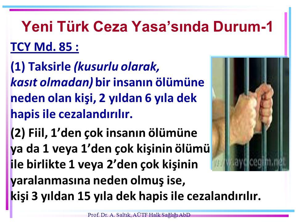 TCY Md. 85 : (1) Taksirle (kusurlu olarak, kasıt olmadan) bir insanın ölümüne neden olan kişi, 2 yıldan 6 yıla dek hapis ile cezalandırılır. (2) Fiil,