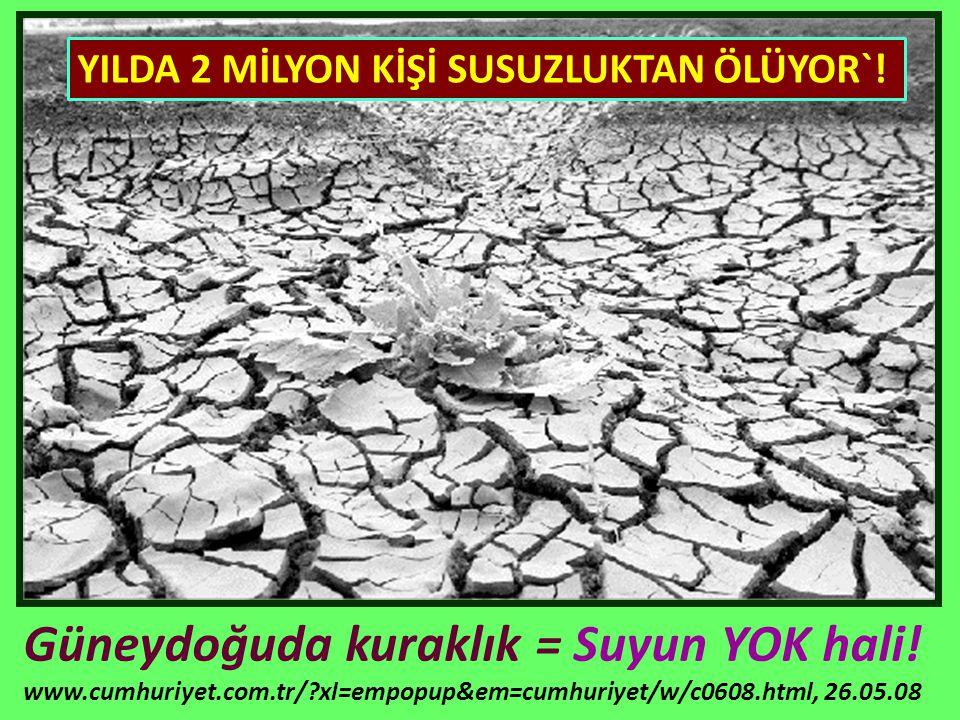 Güneydoğuda kuraklık = Suyun YOK hali! www.cumhuriyet.com.tr/?xl=empopup&em=cumhuriyet/w/c0608.html, 26.05.08 YILDA 2 MİLYON KİŞİ SUSUZLUKTAN ÖLÜYOR`!