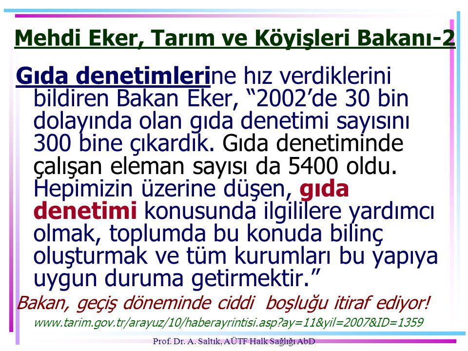 """Prof. Dr. A. Saltık, AÜTF Halk Sağlığı AbD Mehdi Eker, Tarım ve Köyişleri Bakanı-2 Gıda denetimlerine hız verdiklerini bildiren Bakan Eker, """"2002'de 3"""