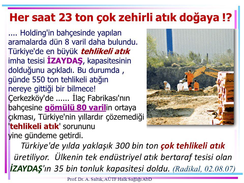 Prof. Dr. A. Saltık, AÜTF Halk Sağlığı AbD.... Holding'in bahçesinde yapılan aramalarda dün 8 varil daha bulundu. Türkiye'de en büyük tehlikeli atık i