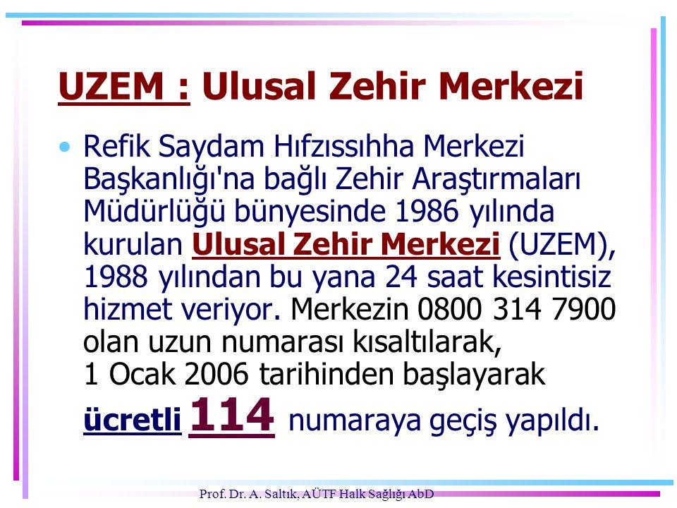 Prof. Dr. A. Saltık, AÜTF Halk Sağlığı AbD UZEM : Ulusal Zehir Merkezi •Refik Saydam Hıfzıssıhha Merkezi Başkanlığı'na bağlı Zehir Araştırmaları Müdür