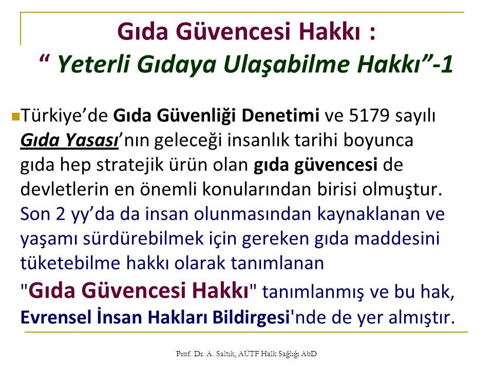 """Prof. Dr. A. Saltık, AÜTF Halk Sağlığı AbD Gıda Güvencesi Hakkı : """" Yeterli Gıdaya Ulaşabilme Hakkı""""-1  Türkiye'de Gıda Güvenliği Denetimi ve 5179 sa"""