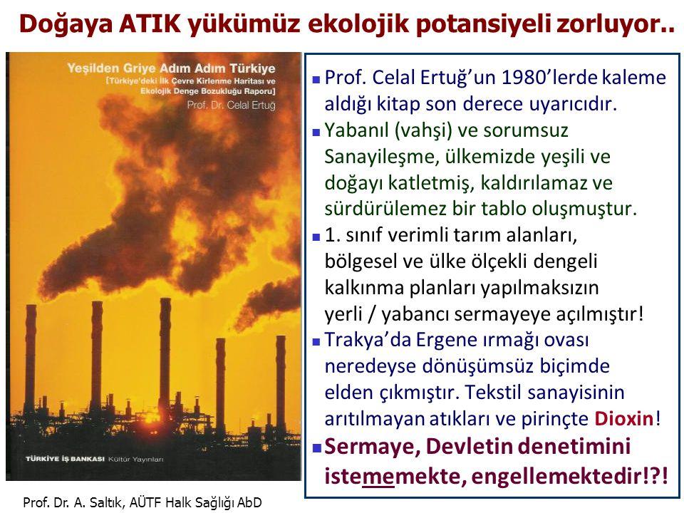 Prof. Dr. A. Saltık, AÜTF Halk Sağlığı AbD Doğaya ATIK yükümüz ekolojik potansiyeli zorluyor..  Prof. Celal Ertuğ'un 1980'lerde kaleme aldığı kitap s