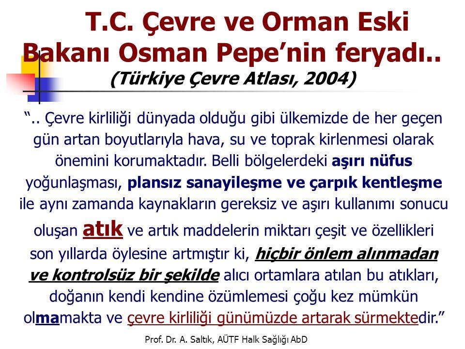 """Prof. Dr. A. Saltık, AÜTF Halk Sağlığı AbD T.C. Çevre ve Orman Eski Bakanı Osman Pepe'nin feryadı.. (Türkiye Çevre Atlası, 2004) """".. Çevre kirliliği d"""